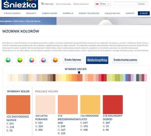 internetowy wzornik kolorów farby